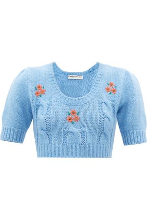 Alessandra Rich Women Sweaters - Floral-embroidered Alpaca-blend Cropped Sweater - Womens - Light