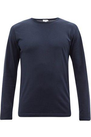 Sunspel Men Pajamas - Cotton-blend Jersey Long-sleeved Pyjama Top - Mens - Navy