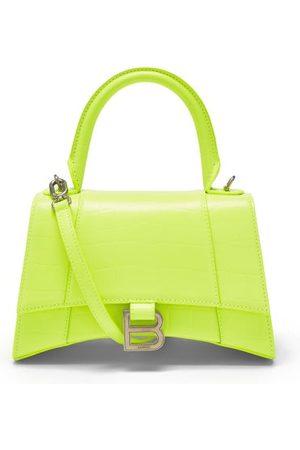 Balenciaga Hourglass S Crocodile-effect Leather Bag - Womens