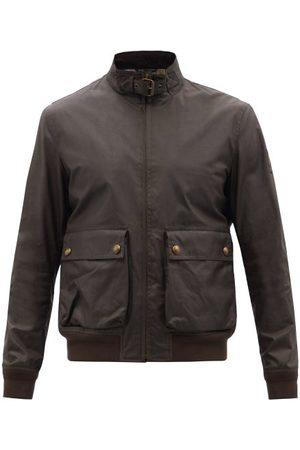 Belstaff Scouter Waxed Cotton-canvas Bomber Jacket - Mens - Khaki