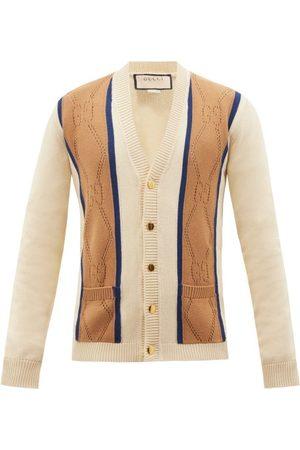 Gucci Men Cardigans - GG-rhombus Eyeletted Cotton Cardigan - Mens - Multi