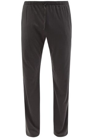 Sunspel Drawstring-waist Cotton-blend Pyjama Trousers - Mens - Dark Grey