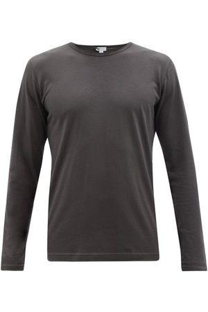 Sunspel Men Pajamas - Cotton-blend Jersey Long-sleeved Pyjama Top - Mens - Dark Grey