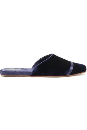 MALONE SOULIERS Rene Velvet And Satin Backless Slippers - Womens - Navy