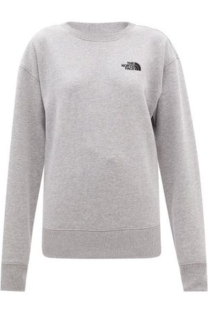 The North Face Logo-embroidered Cotton-blend Jersey Sweatshirt - Womens - Light Grey