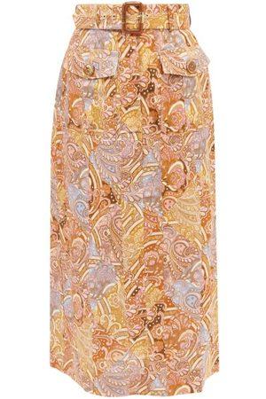 ZIMMERMANN Women Printed Skirts - Belted Paisley-print Linen Midi Skirt - Womens - Multi