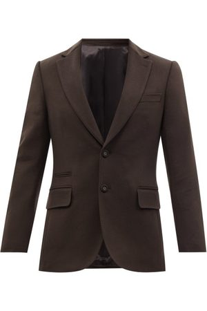 OFFICINE GENERALE Giovanni Single-breasted Wool-felt Suit Jacket - Mens - Dark