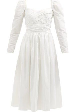Self-Portrait Women Midi Dresses - Portrait - Sweetheart-neckline Gathered Taffeta Midi Dress - Womens