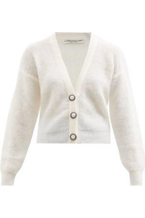 Alessandra Rich Women Cardigans - Pearl-button Mohair-blend Cardigan - Womens
