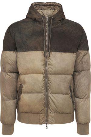 GIORGIO BRATO Nylon & Leather Down Jacket