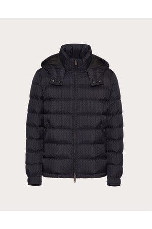 VALENTINO Men Puffer Jackets - Nylon Puffer Coat With Valentino Optical Motif Man Navy 100% Poliammide 44
