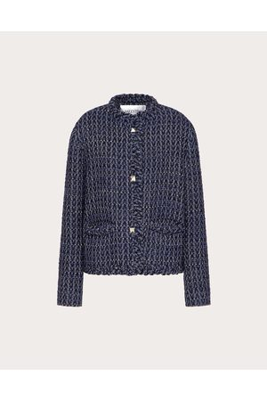 VALENTINO Jacket In Optical Tweed Women Dark 66% Virgin Wool 26% Acrylic 2% Polyester 42