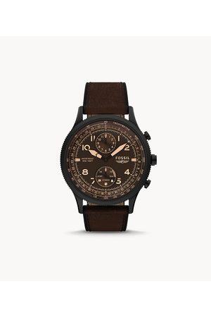 Mens Men Smart Watches - Fossil Men's Hybrid Smartwatch Hr Retro Pilot Dual-Time Leather