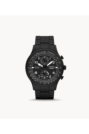 Mens Men Smart Watches - Fossil Men's Hybrid Smartwatch Hr Retro Pilot Dual-Time Stainless Steel