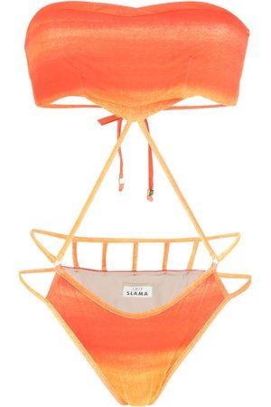 AMIR SLAMA Printed cut-out swimsuit