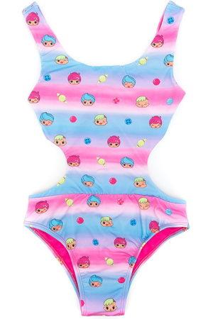 Amir Slama Printed + CHOCOLIX cut-out swimsuit