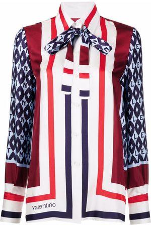 VALENTINO Women Shirts - Mix-print pussy-bow shirt