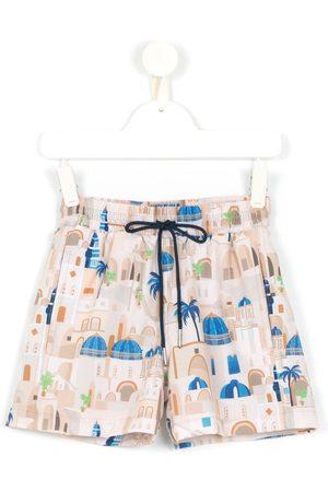 Lygia & Nanny Boys Swim Shorts - Jake Santorini-print swim shorts - Neutrals