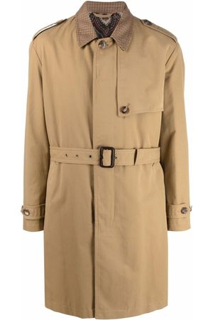 Etro Men Trench Coats - Embroidered logo trench coat - Neutrals