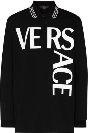 VERSACE Men Polo Shirts - Logo print polo T-shirt