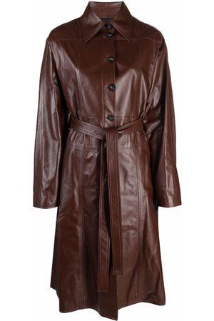 AMBUSH Women Trench Coats - LEATHER TRENCH DRESS DEEP MAHOGANY NO CO