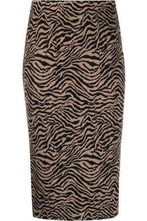 Pinko Women Printed Skirts - Tiger-print pencil skirt - Neutrals