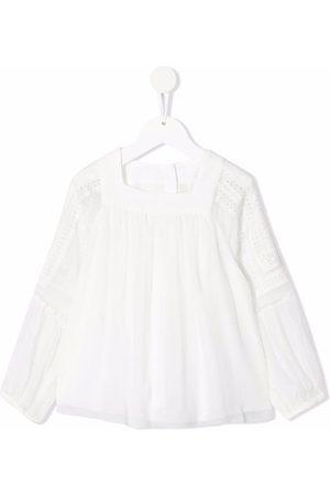 Chloé Girls Blouses - Square-neck silk blouse