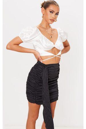 PRETTYLITTLETHING Stripe Ruched Drape Front Mini Skirt