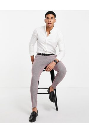 ASOS Wedding super skinny wool mix suit pants in burgundy puppytooth