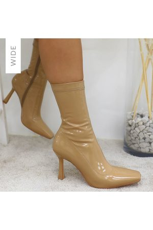simmi.com Leighton Wide Fit Dark Nude Patent Ankle Boots