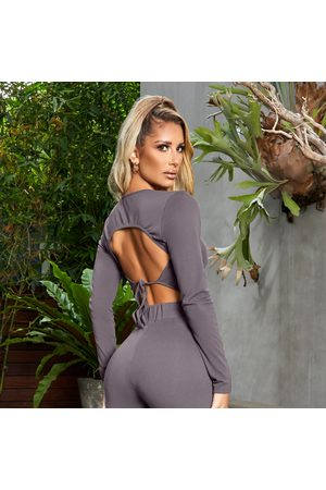simmi.com Out In the Open Charcoal Tie Back Crop Top