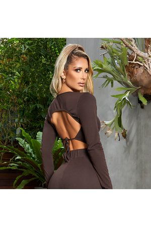 simmi.com Out In the Open Chocolate Tie Back Crop Top