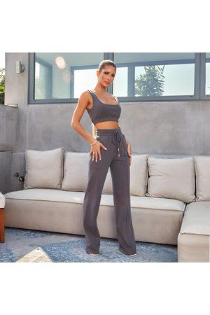 simmi.com Straight Talk Charcoal High Waisted Straight Leg Joggers