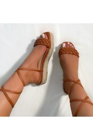 simmi.com Lyric Tan Woven Lace Up Espadrille Flatforms