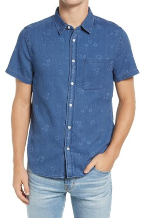 Madewell Men's Perfect Slim Fit Mini Square Short Sleeve Button-Up Shirt