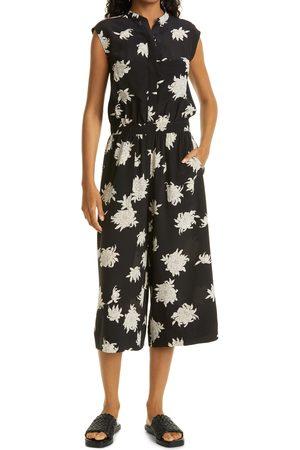 Vince Women's Floral Sleeveless Wide Leg Crop Silk Jumpsuit