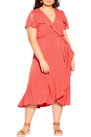 City Chic Plus Size Women's Palm Love Wrap Dress