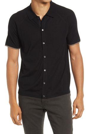 THEORY Men's Berner Short Sleeve Knit Merino Wool Button-Up Shirt