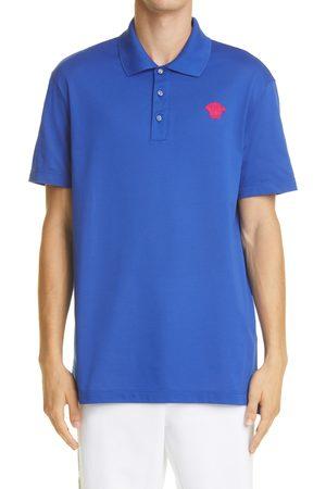 VERSACE Men's Medusa Applique Cotton Polo Shirt
