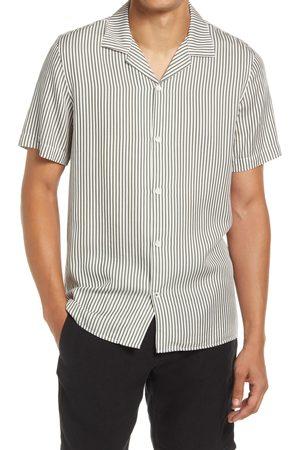 NN.07 Men's Miyagi 5112 Stripe Short Sleeve Button-Up Lyocell & Linen Camp Shirt