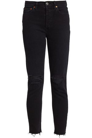 RE/DONE Women High Waisted - High-Rise Ankle Crop Skinny Jeans