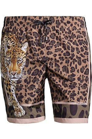 Dolce & Gabbana Leopard-Print Mid-Rise Boxer Swim Trunks