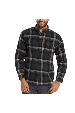 Wolverine Glacier Heavyweight Long Sleeve Flannel Shirt Charcoal Plaid, Size L
