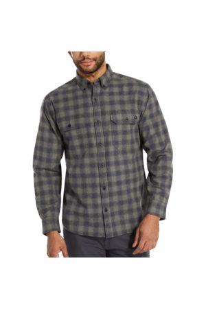 Wolverine Men Long sleeves - Men's Glacier Midweight Long Sleeve Flannel Shirt Gunmetal Plaid, Size L