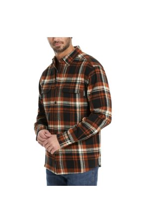 Wolverine Glacier Heavyweight Long Sleeve Flannel Shirt Mahogany Plaid, Size L