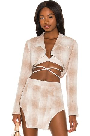 KIM SHUI Cropped Linen Blazer in Taupe.