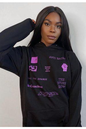 Missguided Women Hoodies - Anti Racist Graphic Extreme Oversized Fleeceback Hoodie