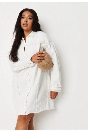 Missguided Plus Size Frayed Oversized Denim Shirt Dress