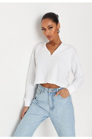 Missguided Inserted Zip Loopback Cropped Sweatshirt