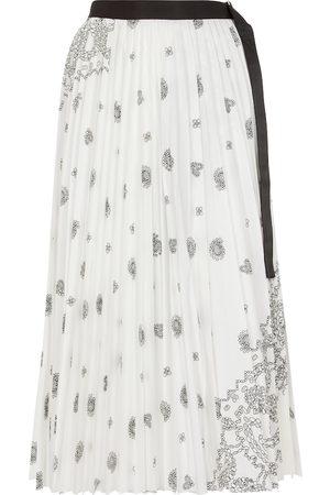 SACAI Printed cotton midi skirt